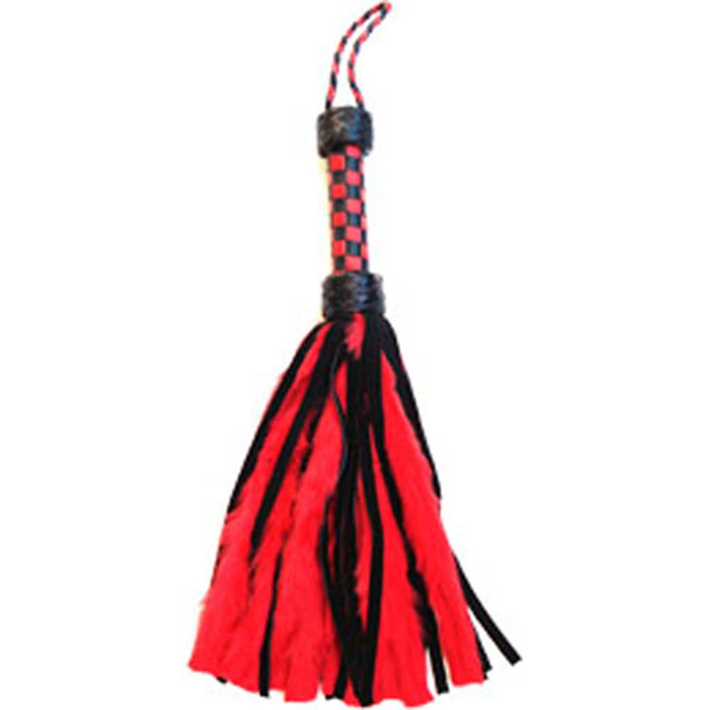 Petite Fluffy Flogger with Leather Checkered Grip Red - View #1