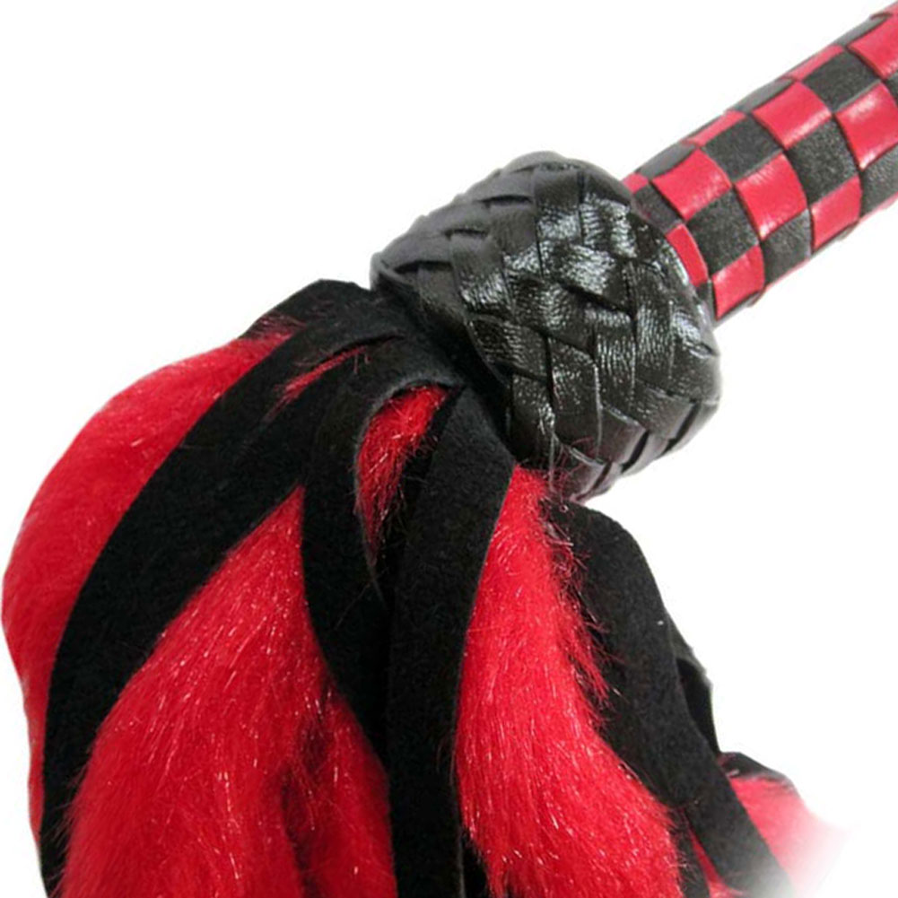 Petite Fluffy Flogger with Leather Checkered Grip Red - View #3