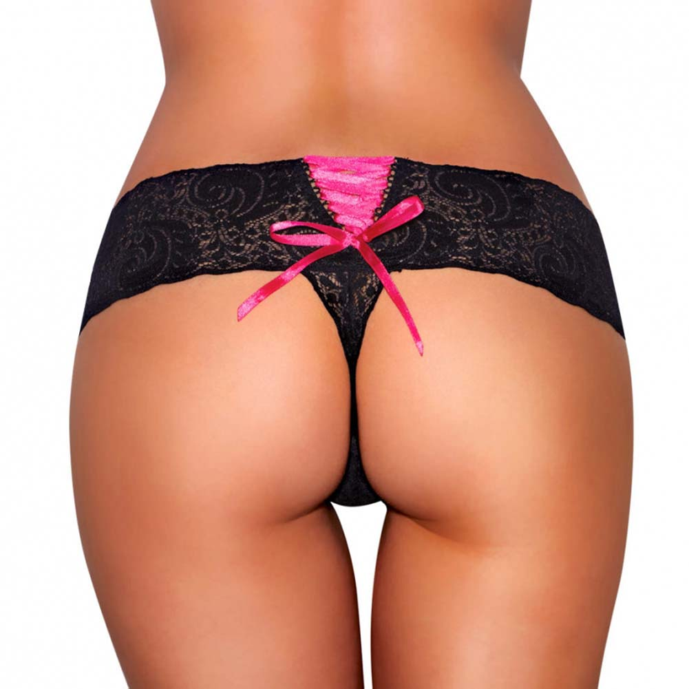 Hustler Lace Up Back Vibrating Panty Small/Medium Black - View #2