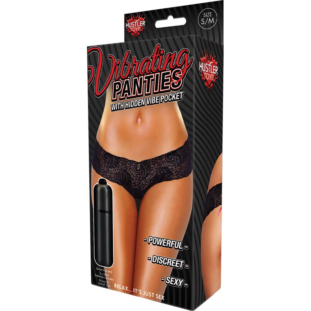 Hustler Lace Up Back Vibrating Panty Small/Medium Black - View #4