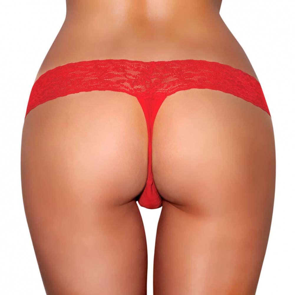 Hustler Vibrating Lace Thong with Bullet Small/Medium Red - View #2