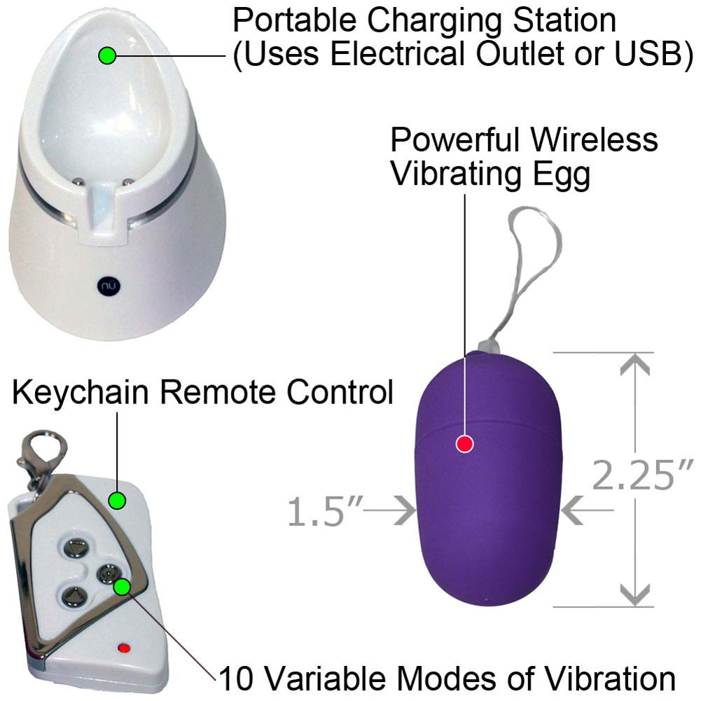 Nu Sensuelle 10 Function Remote Control Rechargeable Wireless Egg Purple - View #1