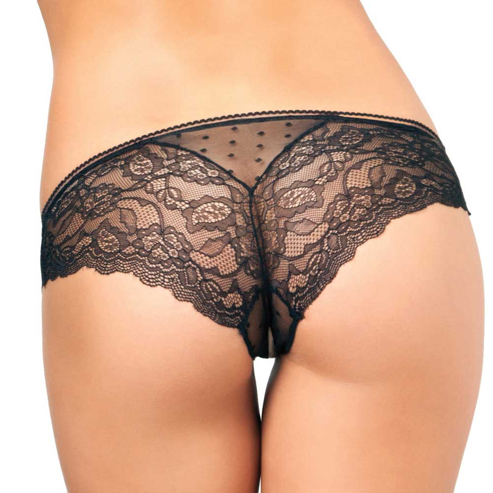 Rene Rofe Crotchless Lace N Dots Panty Small/Medium Black - View #2