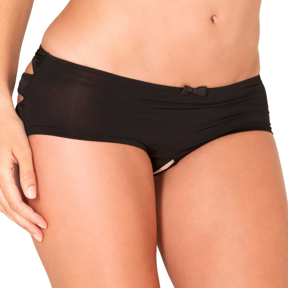 Rene Rofe Crotchless Boyshort with Lace Windows Medium/Large Black - View #1