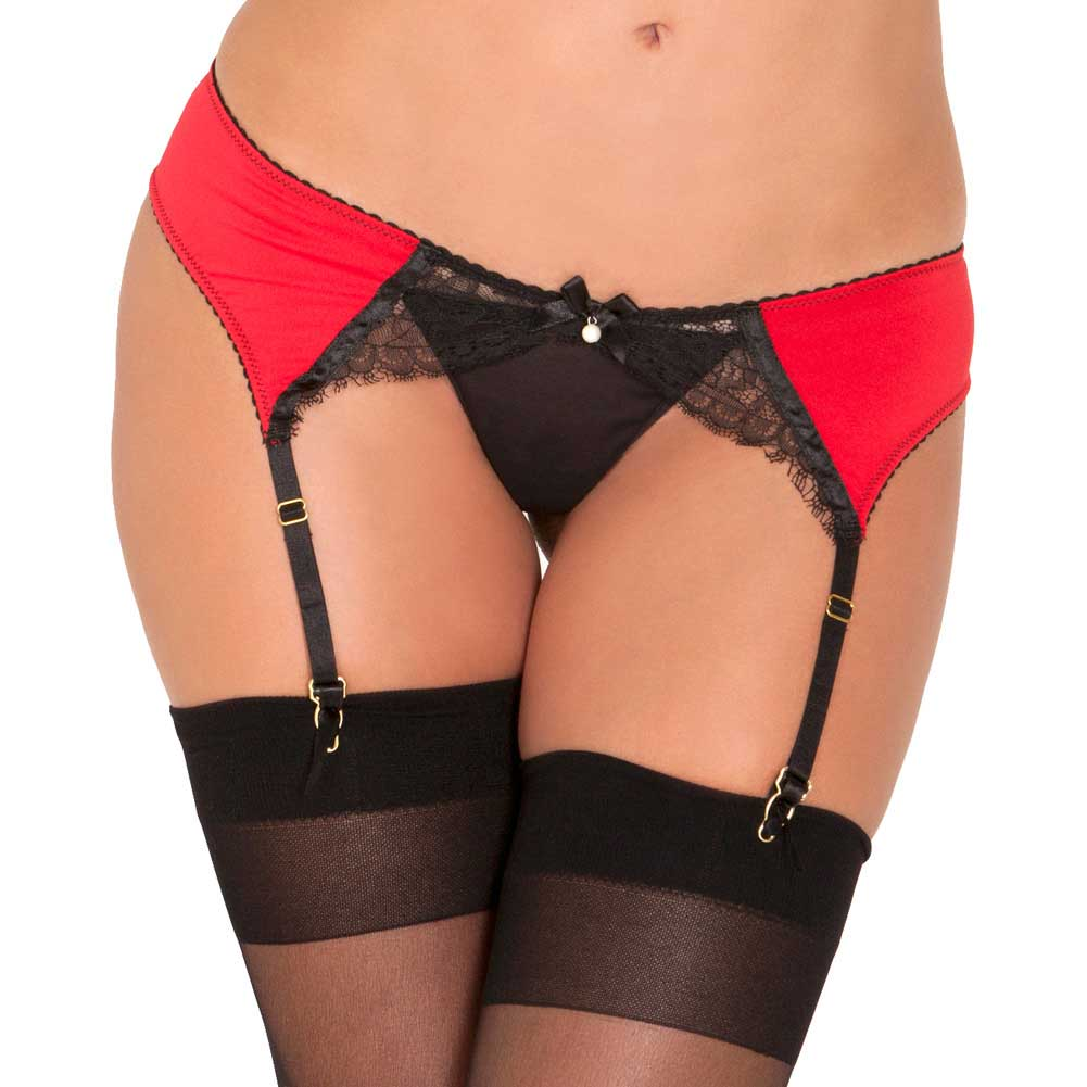 Rene Rofe Pearl And Lace Garter Belt Medium/Large Red - View #1