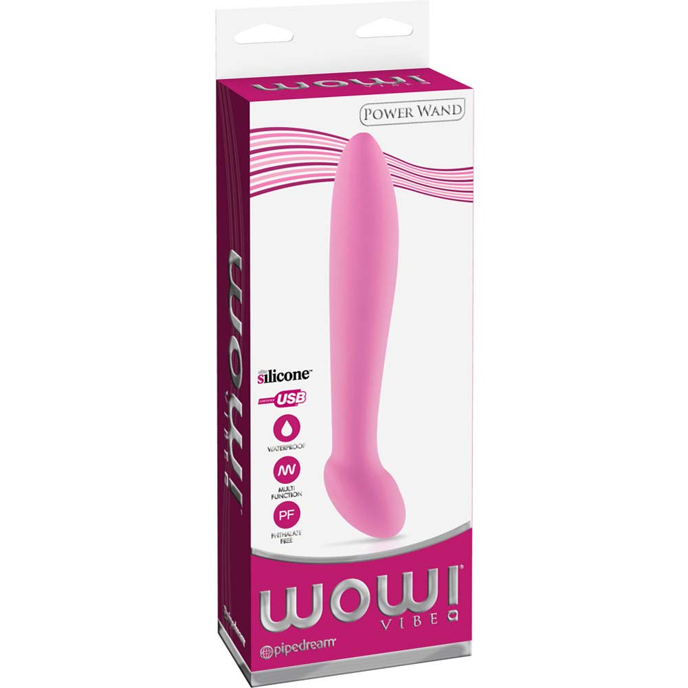 "Wow Power Wand - Silicone USB Rechargeable Personal Vibrator 7.75"" Pink - View #1"