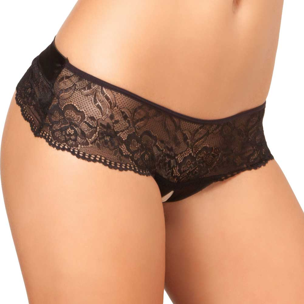 Rene Rofe Crotchless Lace Bow Back Panty Medium-Large Black - View #1