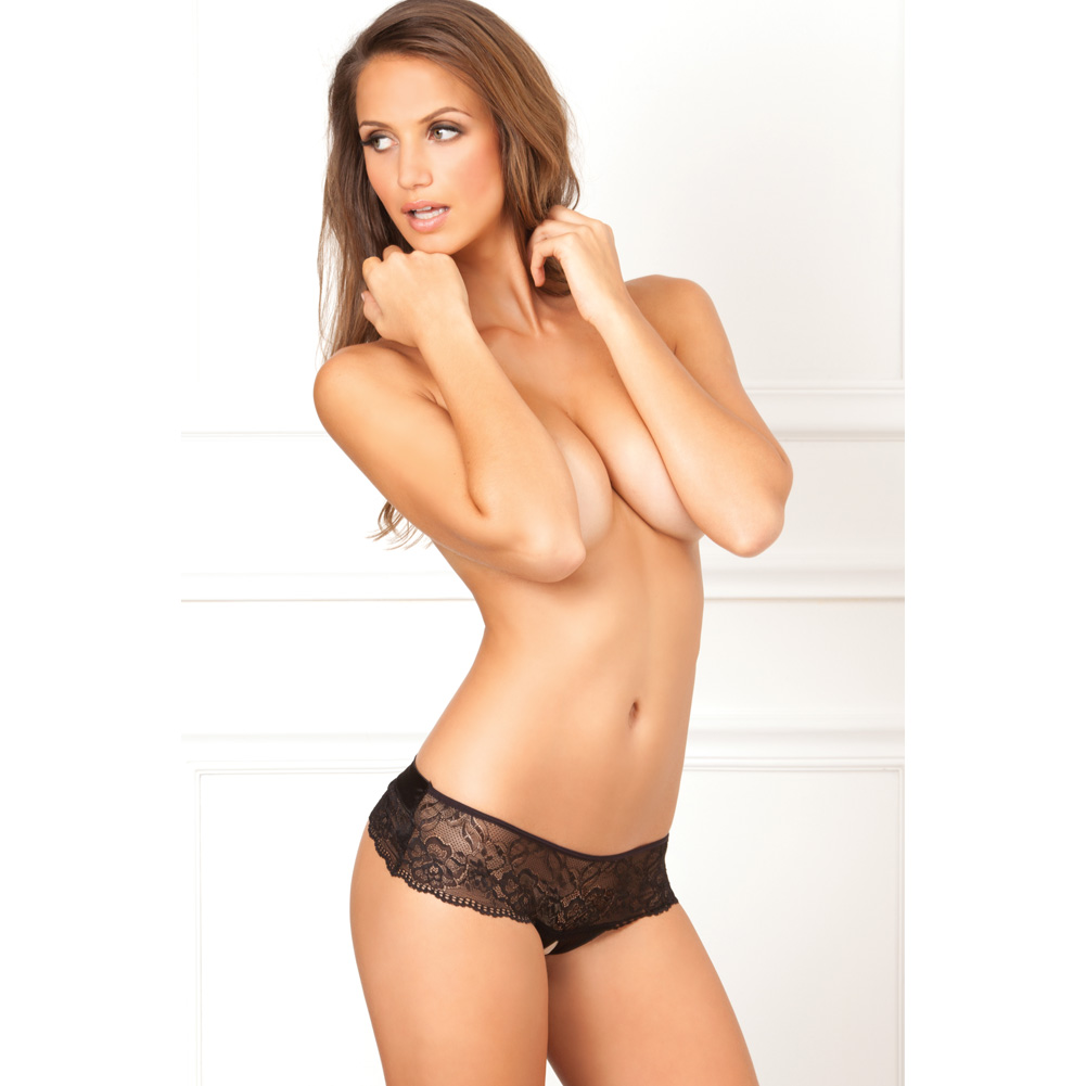 Rene Rofe Crotchless Lace Bow Back Panty Small-Medium Black - View #4