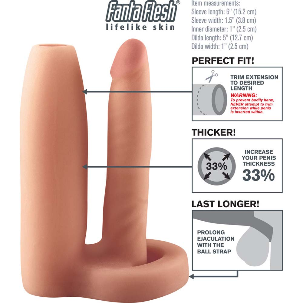 "Fantasy X-Tensions Double Trouble Girth Gainer Fanta Flesh Extension 6"" Natural - View #1"