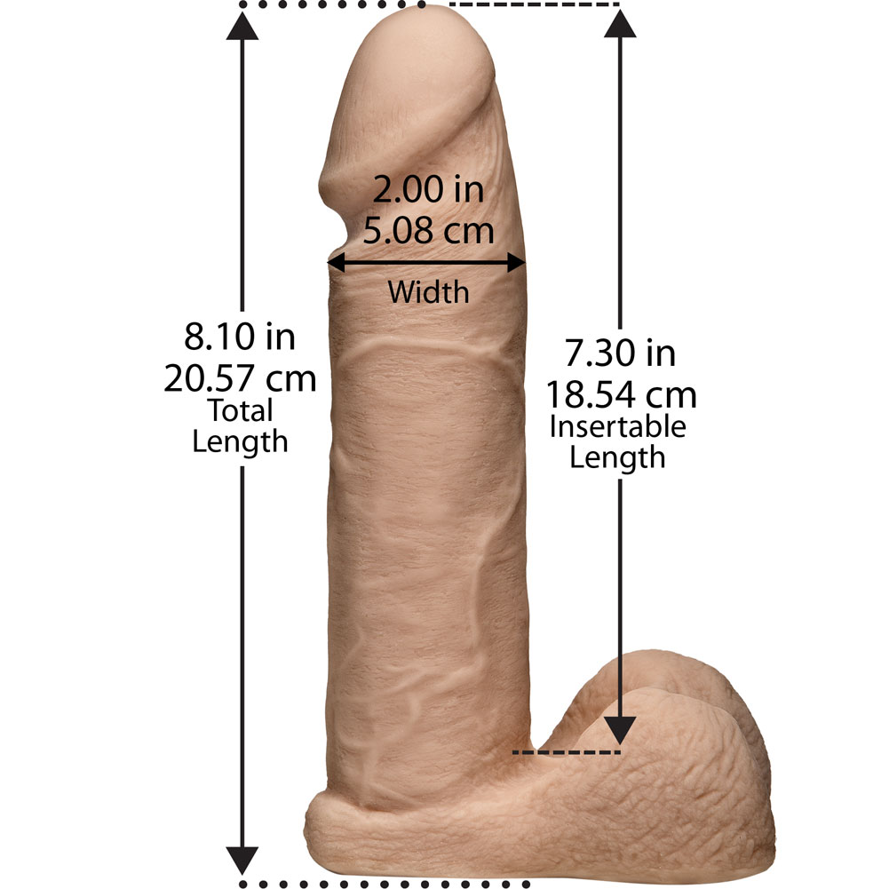 "Vac-U-Lock 8"" UR3 Cock with Balls Natural - View #3"