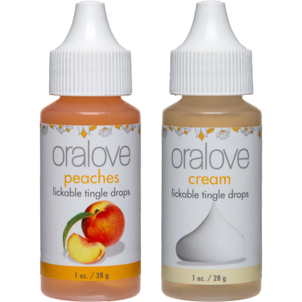 Oralove Delectable Duo Lickable Tingle Drops Peaches Cream 2-Pack - View #2