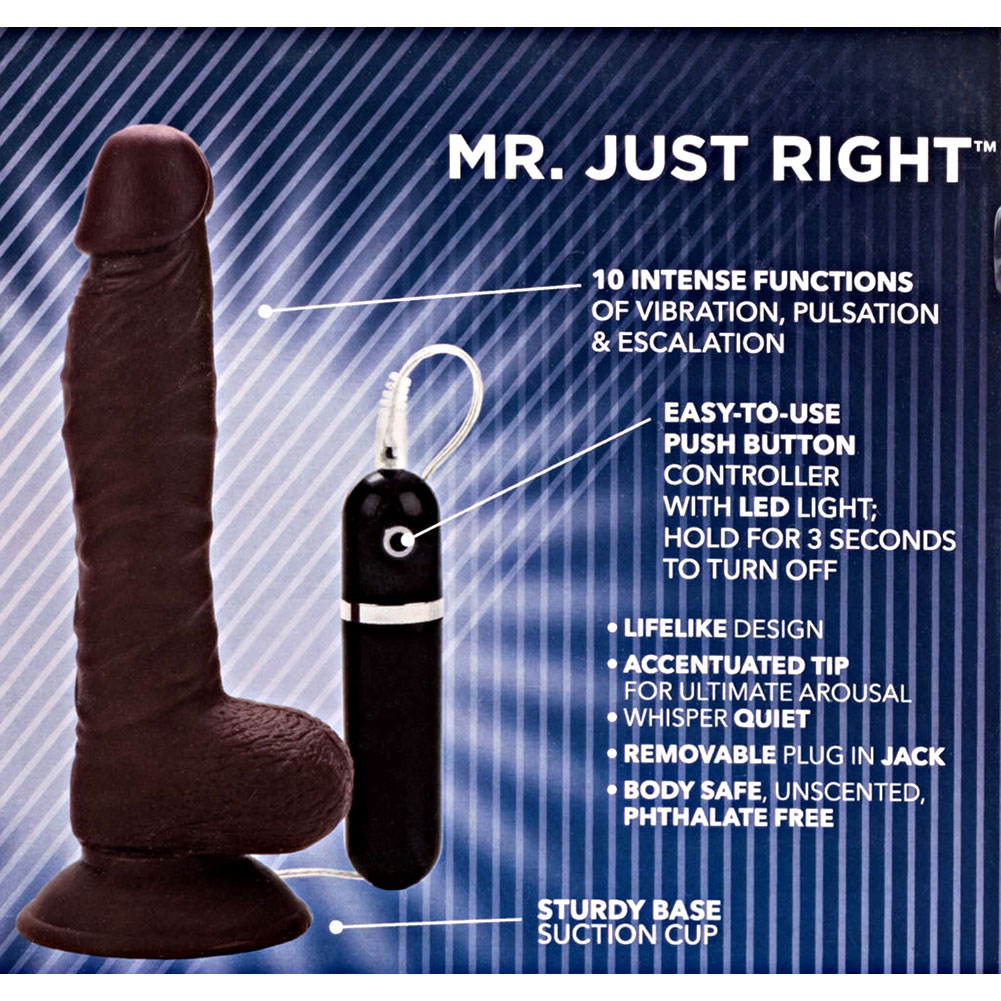 "California Exotics Mr. Just Right Elite Eight Realistic Vibrator 8"" Ebony - View #1"