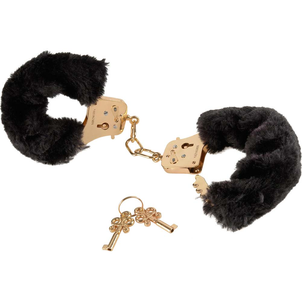 Fetish Fantasy Gold Deluxe Furry Cuffs Black - View #2