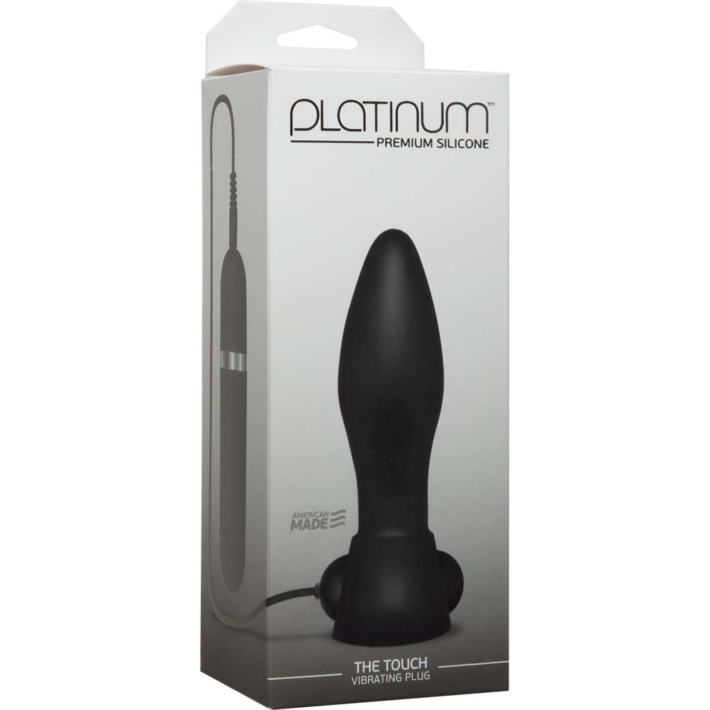 "Platinum Premium Silicone the Touch Vibrating Butt Plug 5"" Black - View #1"