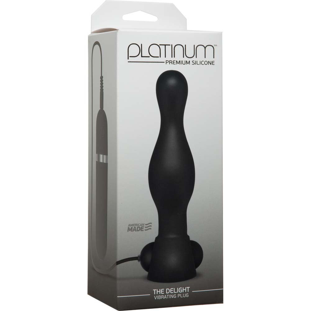 "Platinum Premium Silicone the Delight Vibrating Butt Plug 6"" Black - View #1"