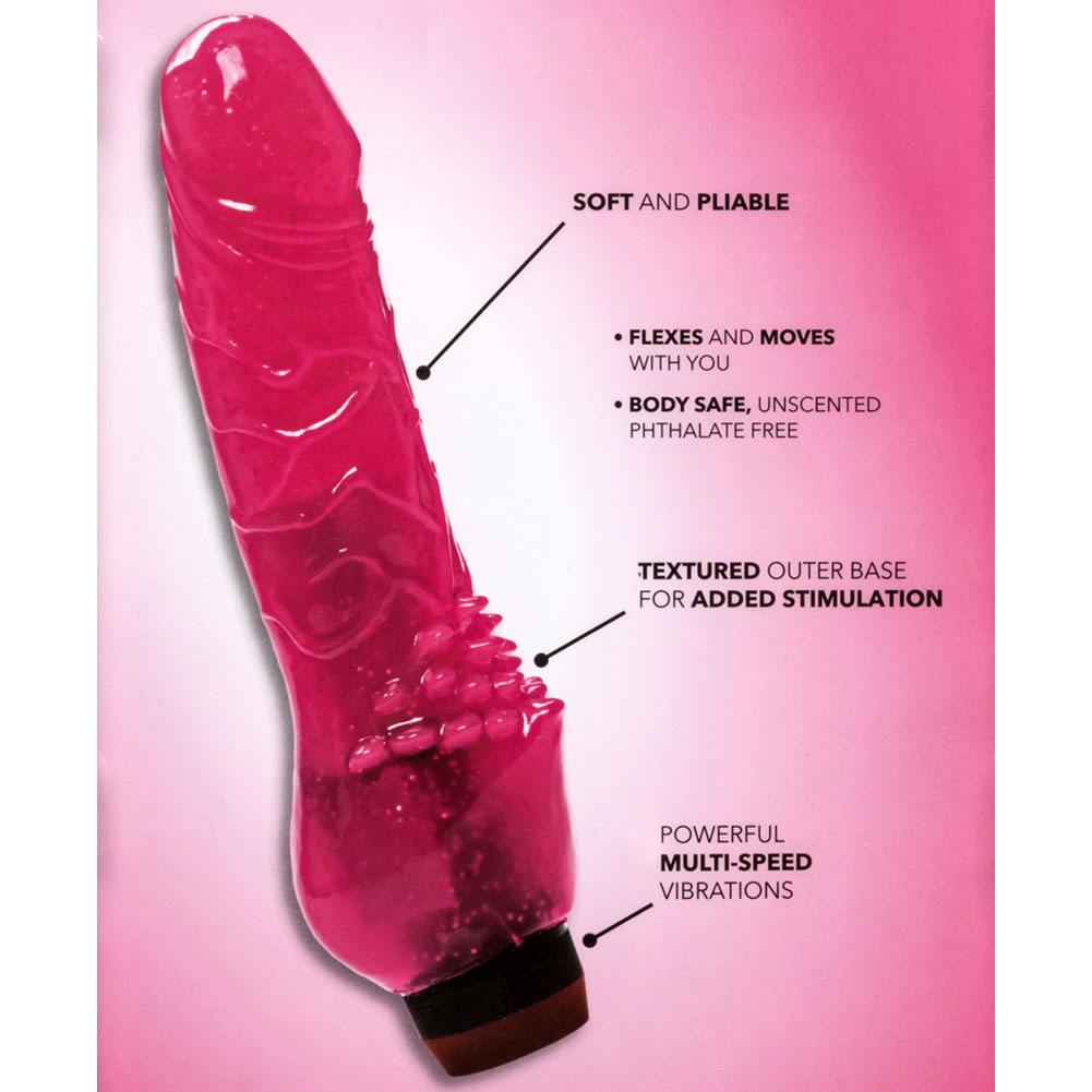 "California Exotics Hot Pinks Clitterific Jelly Vibrator 8"" Pink - View #1"