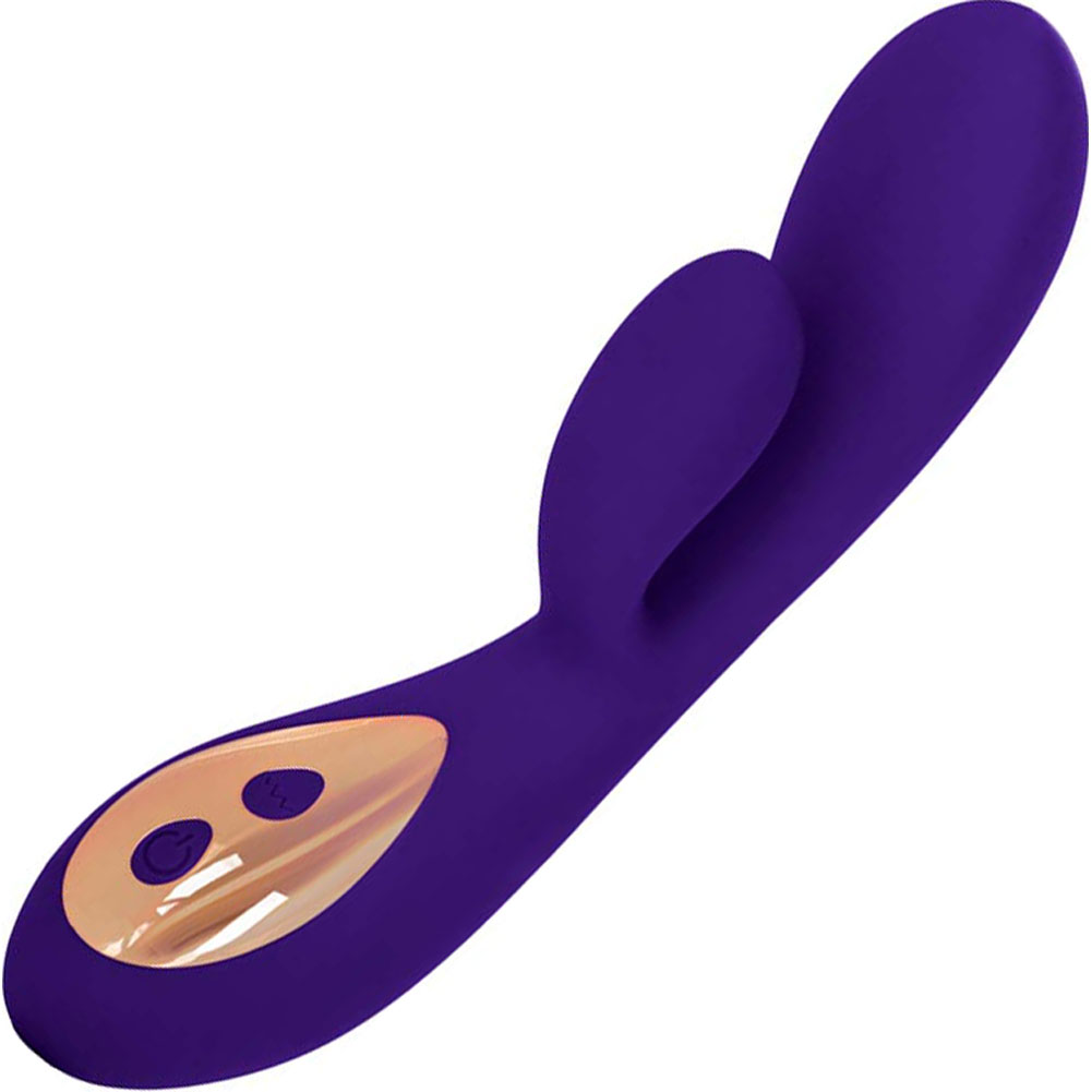 "California Exotics Entice Charlize USB Rechargeable Silicone Vibrator 7.5"" Purple - View #2"