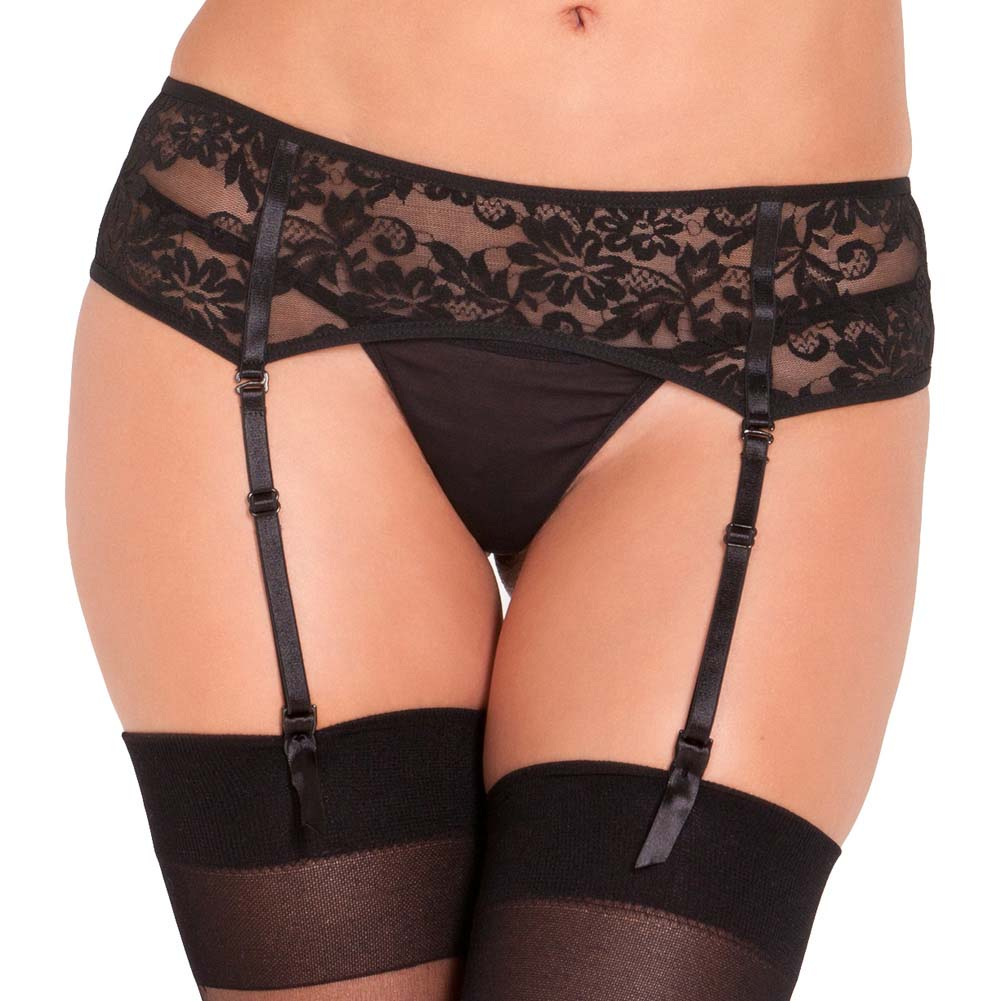 Rene Rofe Lace Garter Belt Medium-Large Black - View #1