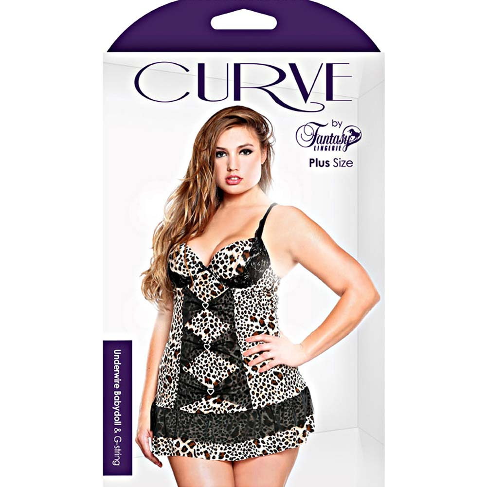 Curve Underwire Babydoll and G-String Set Plus Size 1X/2X Leopard - View #3