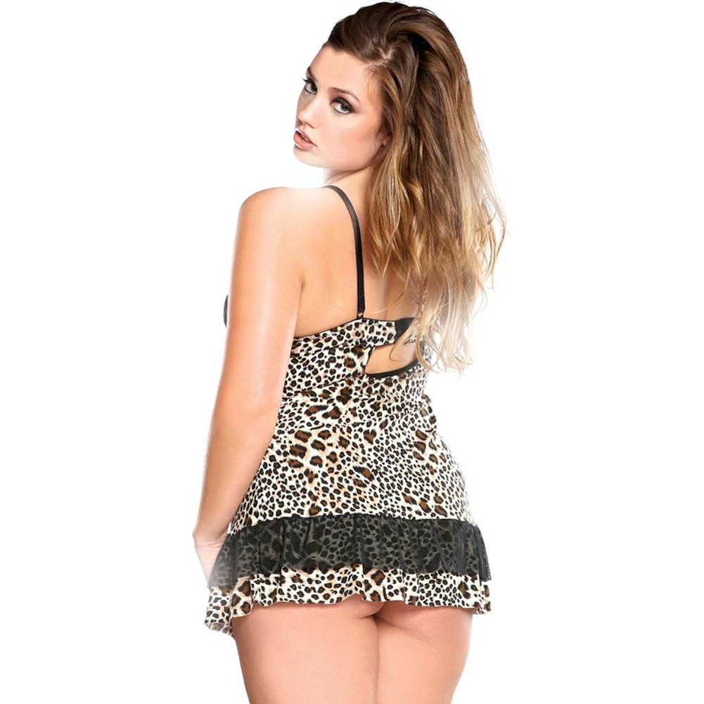 Curve Underwire Babydoll and G-String Set Plus Size 3X/4X Leopard - View #2