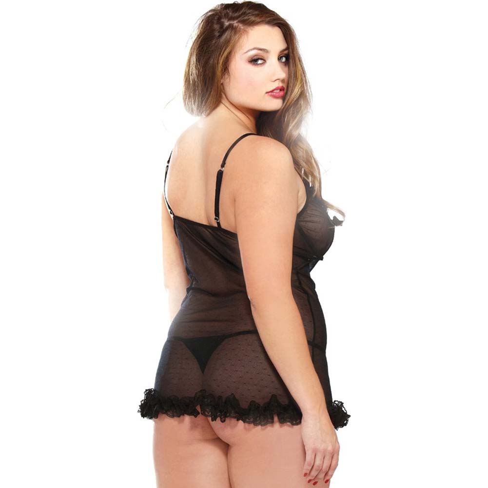 Curve Underwire Chemise and Thong Set Plus Size 1X/2X Black - View #2