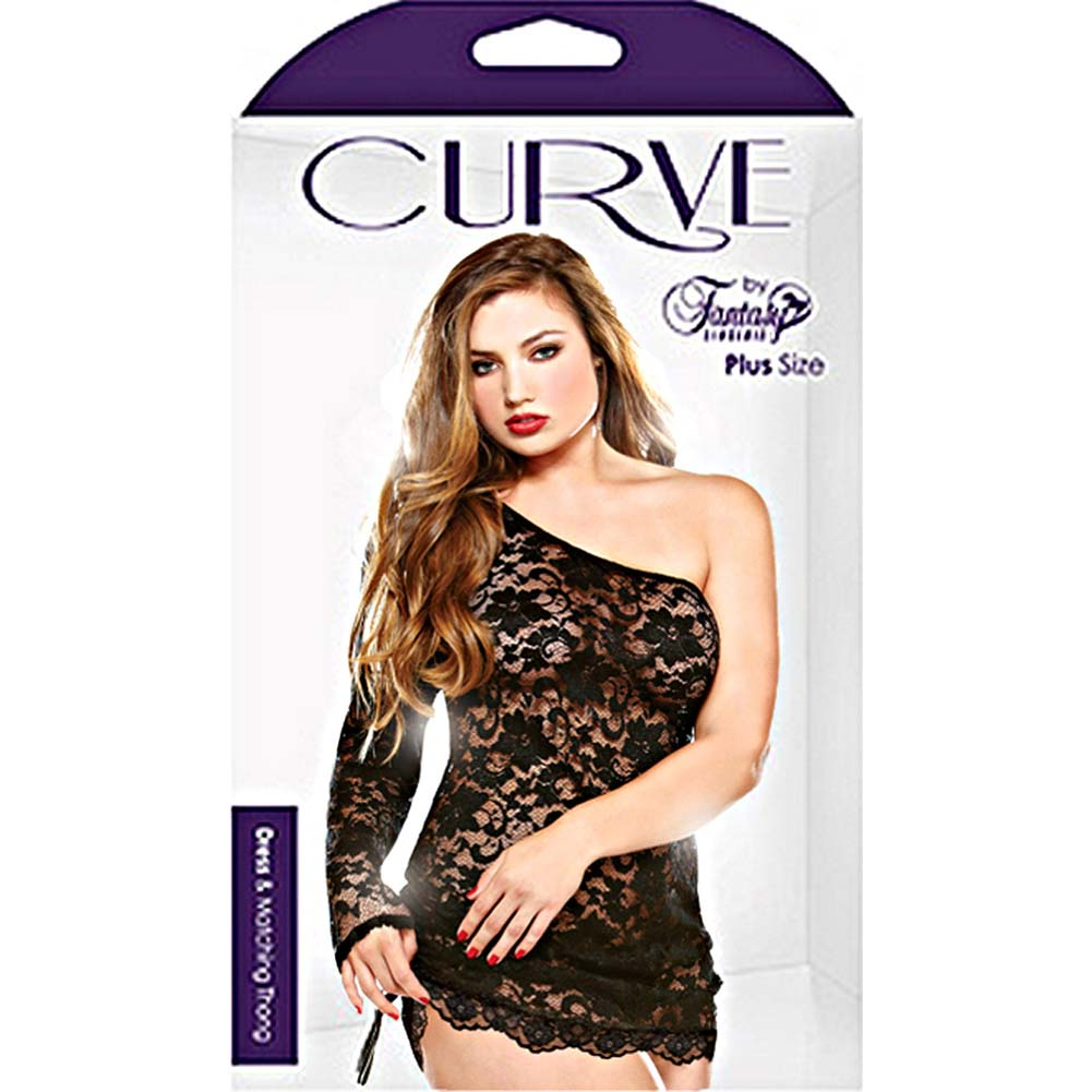 Curve One Shoulder Lace Dress and Matching Thong Set Plus Size 3X/4X Black - View #3