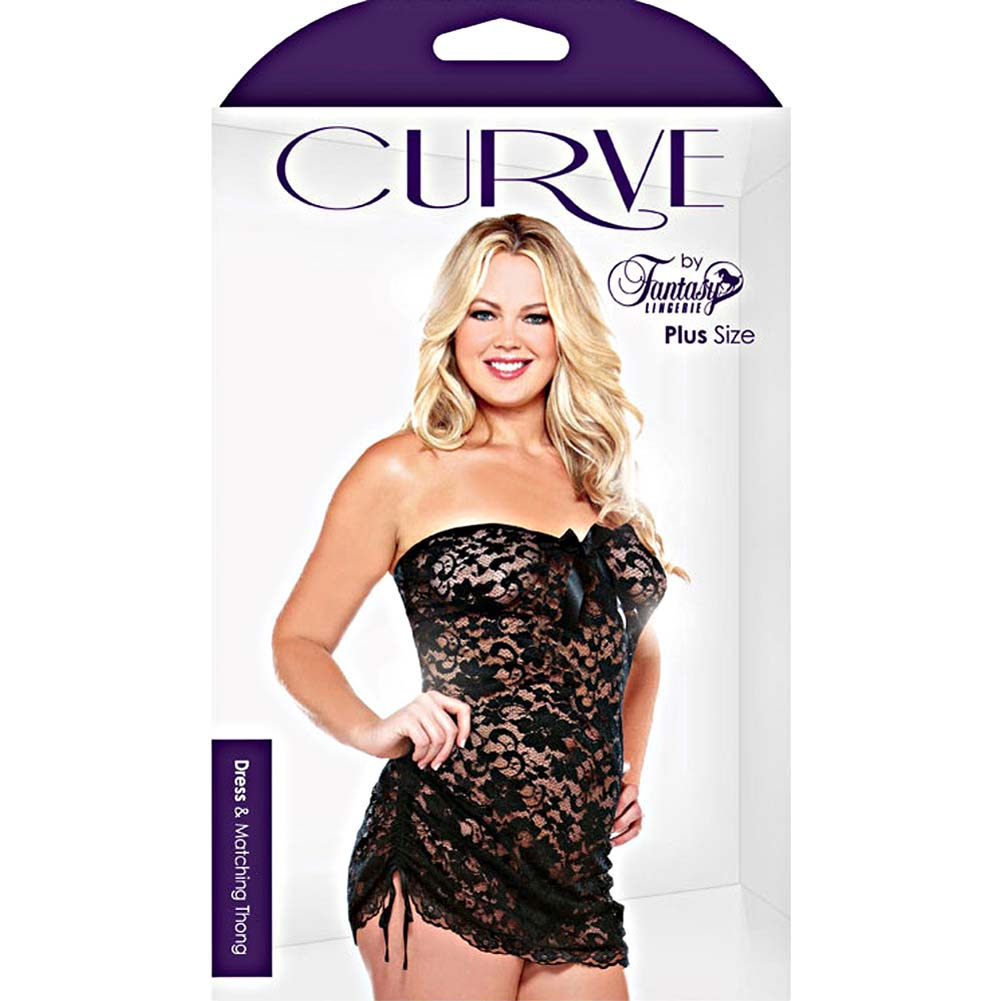Curve Lace Strapless Dress and Matching Thong Set Plus Size 3X/4X Black - View #3