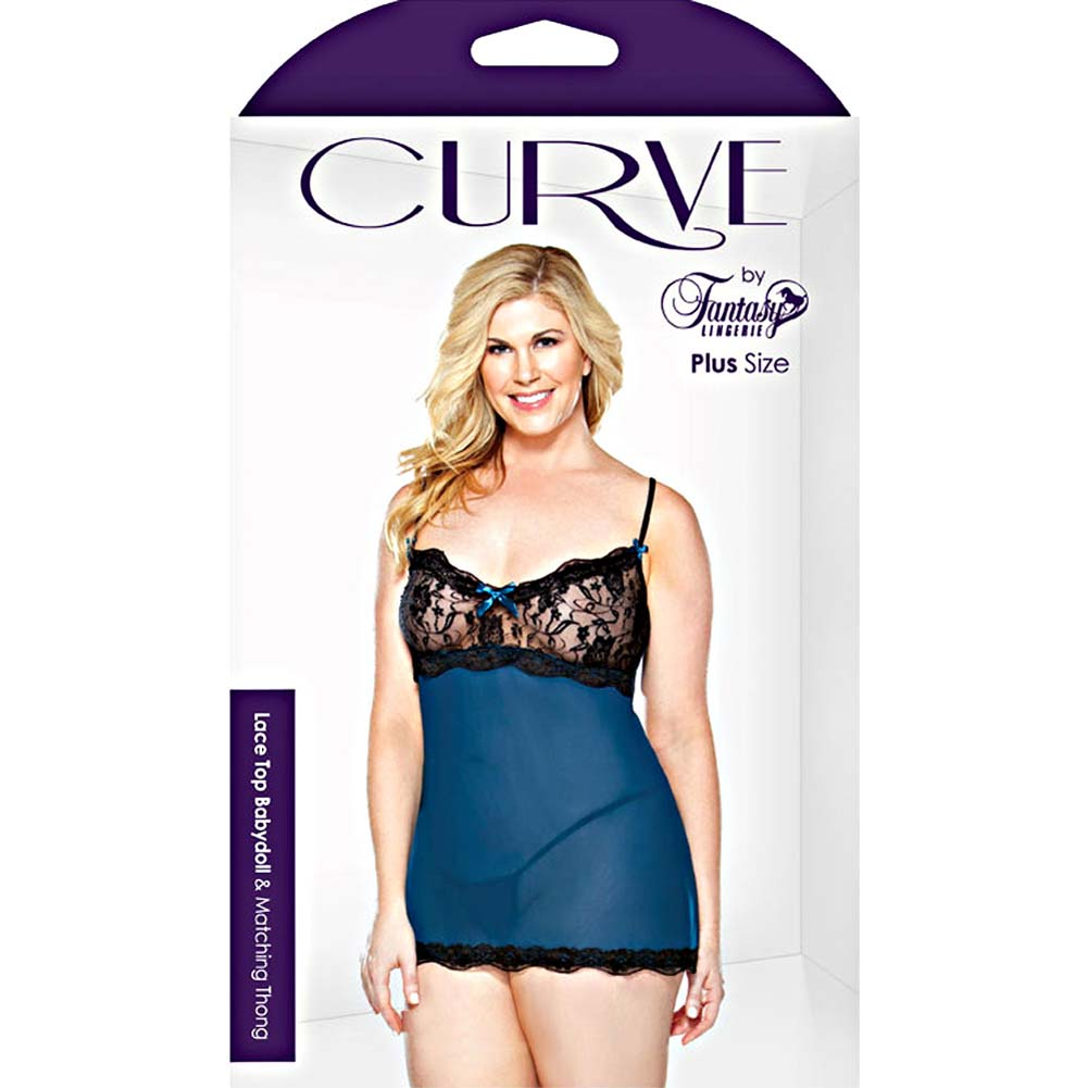 Curve Lace Top Babydoll and Matching Thong Plus Size 1X/2X Teal - View #3