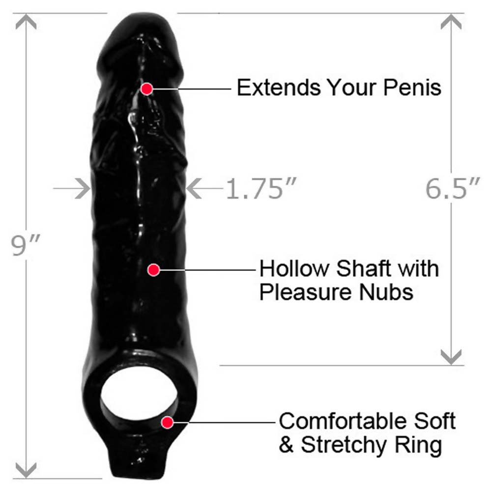 "Master Series Mamba Cock Sheath Penis Extender 9"" Black - View #1"