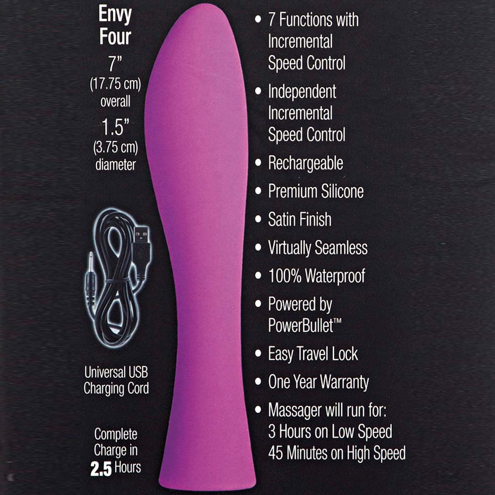 "Envy by Jopen Four Rechargeable Silicone Vibrator 7"" Pink - View #1"