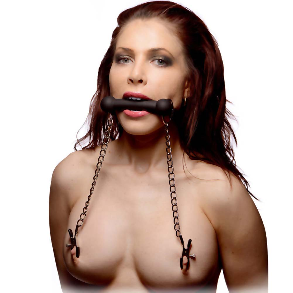 Master Series Equine Silicone Bit Gag with Nipple Clamps Black - View #1