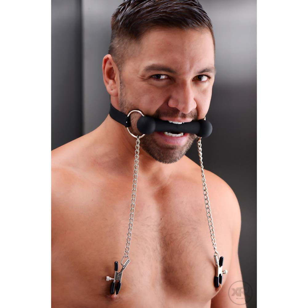 Master Series Equine Silicone Bit Gag with Nipple Clamps Black - View #3