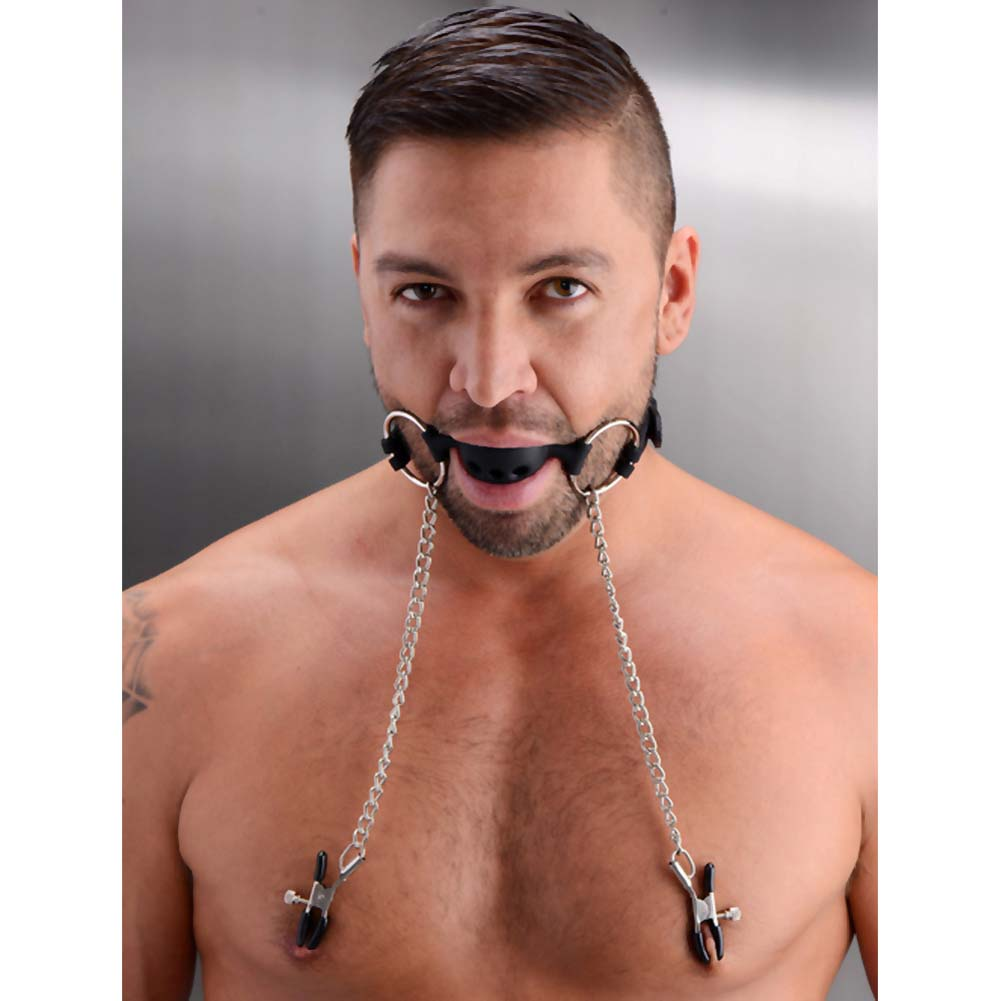 Master Series Hinder Breathable Silicone Ball Gag with Nipple Clamps Black - View #3
