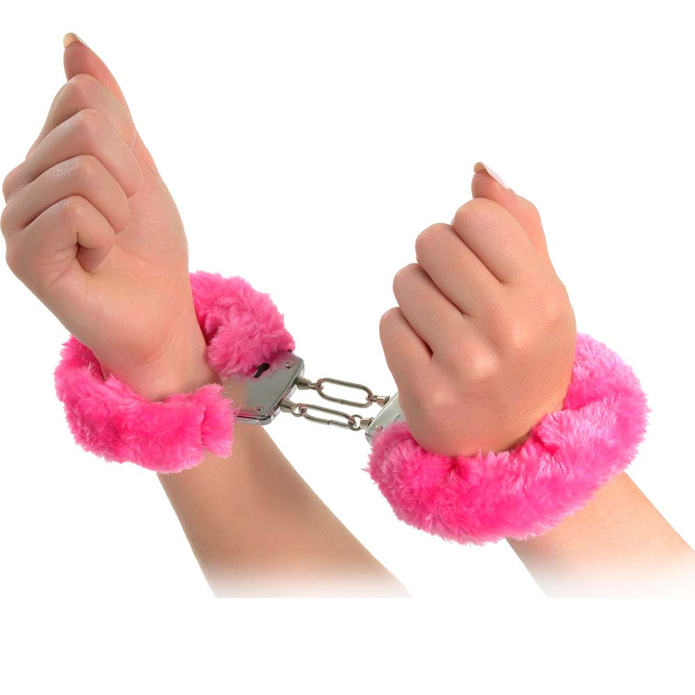 Neon Luv Touch Neon Furry Cuffs Pink - View #2