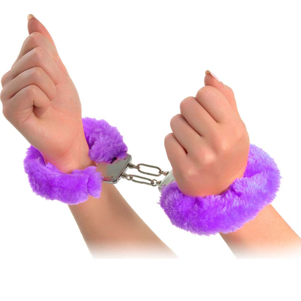 Neon Luv Touch Neon Furry Cuffs Purple - View #2