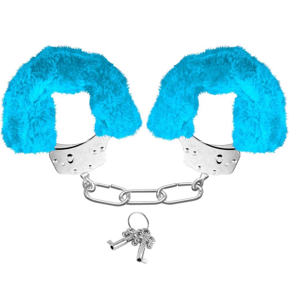 Neon Luv Touch Neon Furry Cuffs Blue - View #1