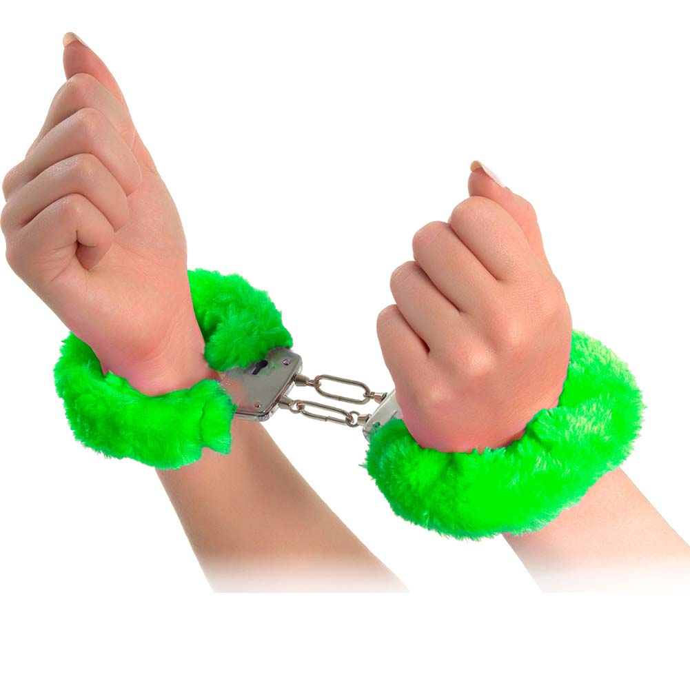 Neon Luv Touch Neon Furry Cuffs Green - View #2