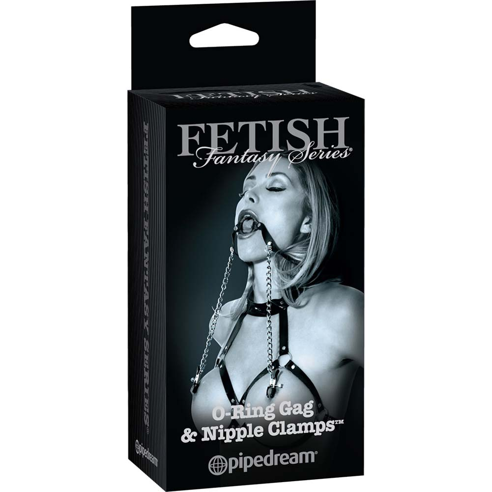 Fetish Fantasy Limited Edition O-Ring Ball Gag Nipple Clamps Black - View #4