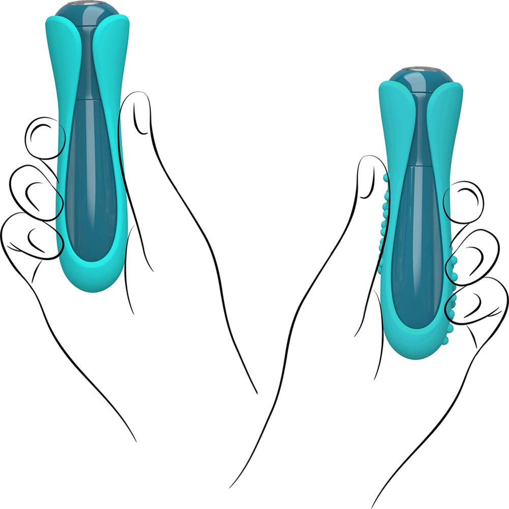 """Key by Jopen Io Luxury Vibrator with 2 Silicone Sleeves 4.25"""" Blue - View #1"""