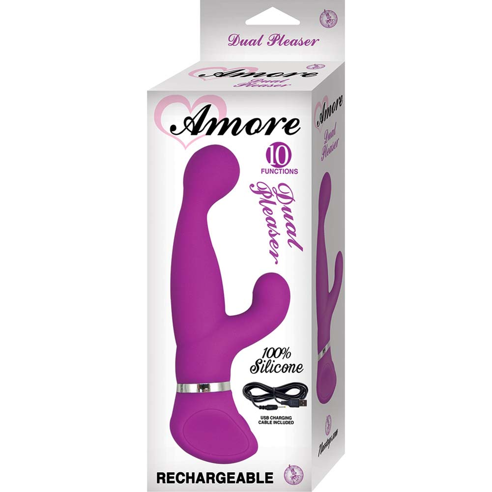 "Amore Dual Pleaser 10 Function Silicone USB Rechargeable Vibrator 7.75"" Purple - View #1"