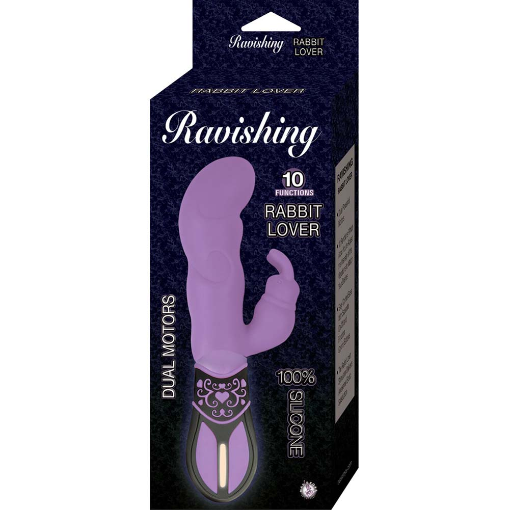"Ravishing Rabbit Lover 10 Function Silicone Vibrator 7.75"" Purple - View #1"