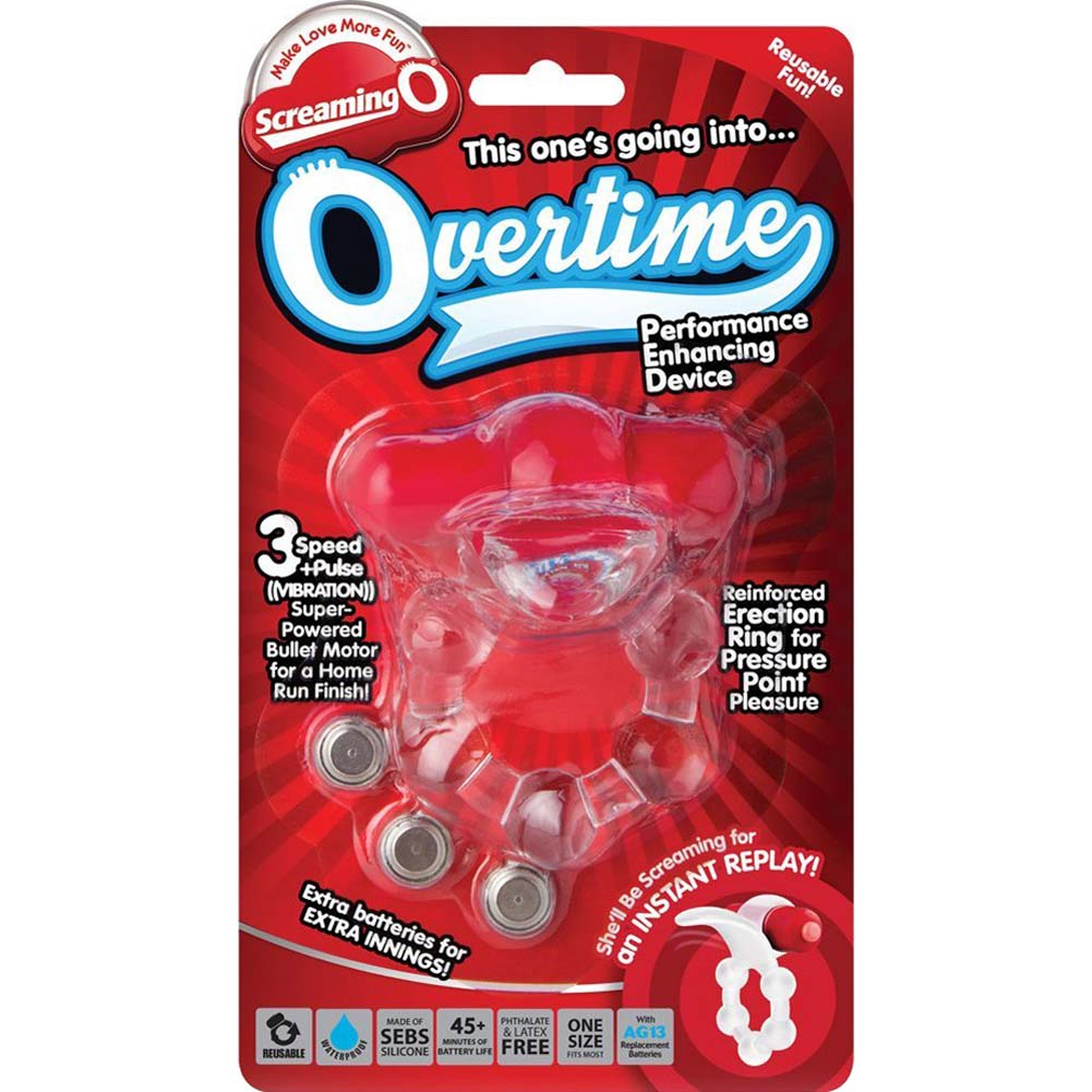 Screaming O Overtime Vibrating Erection Ring Red - View #4