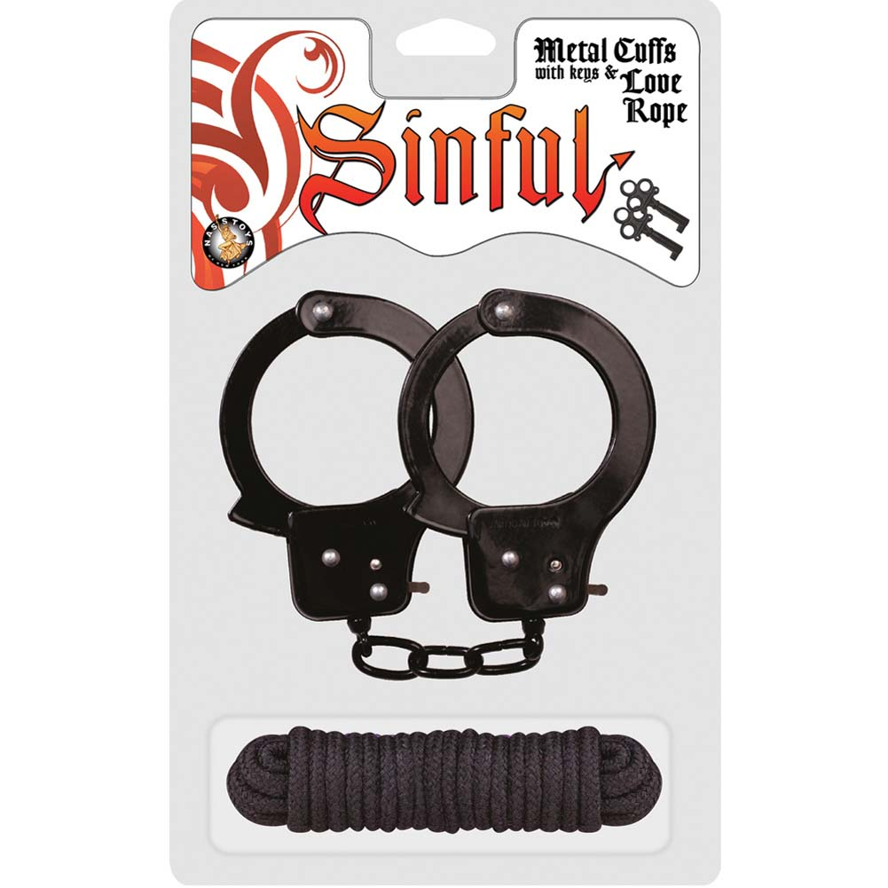 Sinful Metal Cuffs with Keys and Love Rope Black - View #1