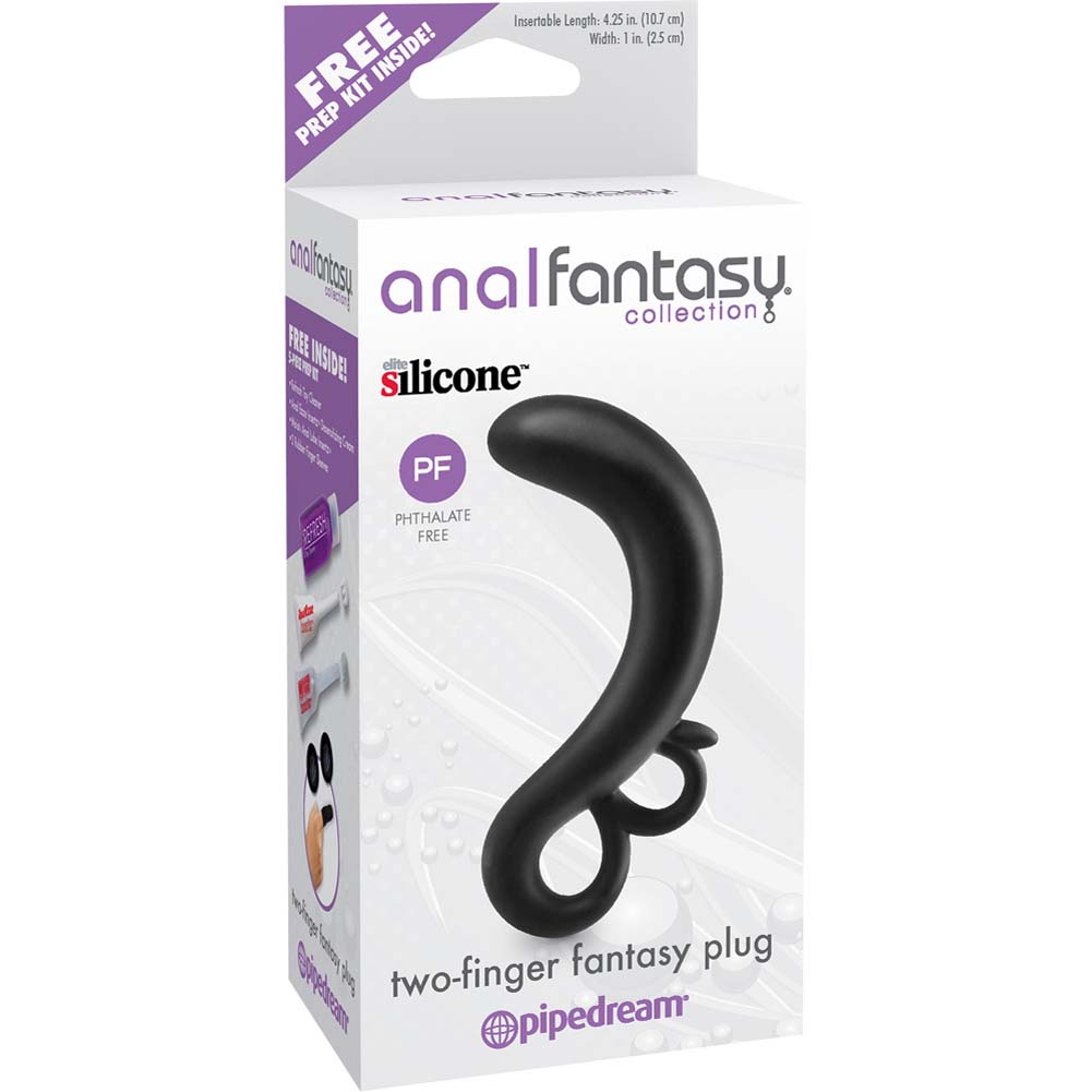 "Anal Fantasy Collection Two Finger Fantasy Plug 5.5"" Black - View #1"