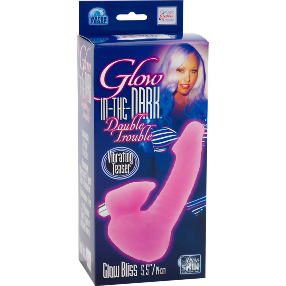"Glow-In-The-Dark Double Trouble Bliss Dildo with Vibrating Teaser 5.5"" Pink - View #3"