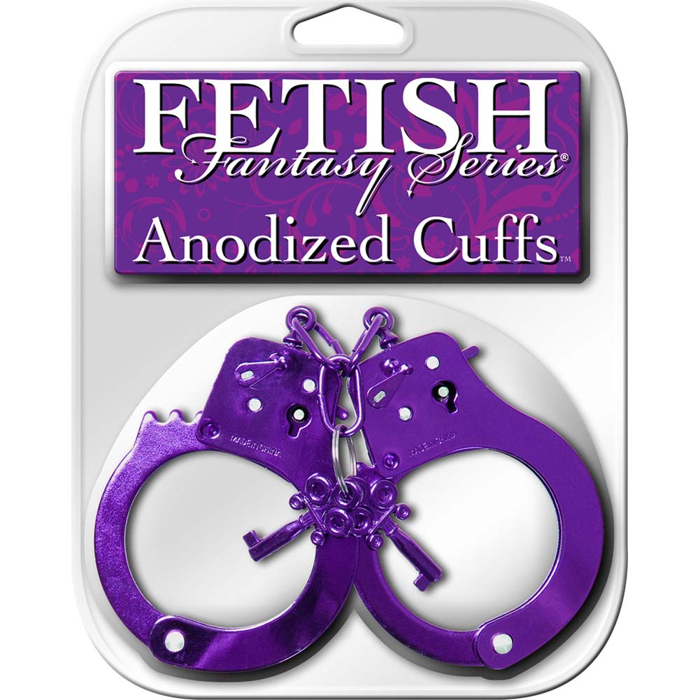 Pipedream Fetish Fantasy Anodized Metal Hand Cuffs One Size Purple - View #4