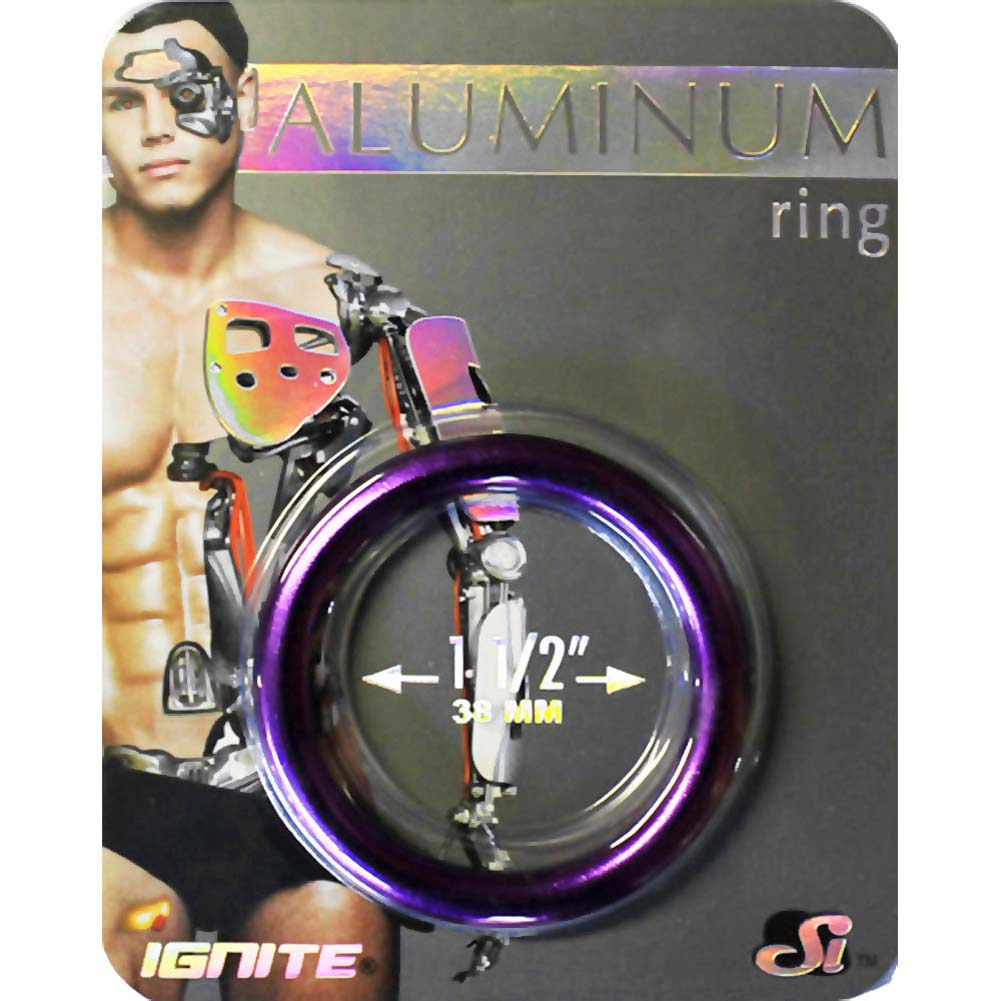 "Ignite Anodized Aluminum Cock Ring 1.5"" Royal Purple - View #1"