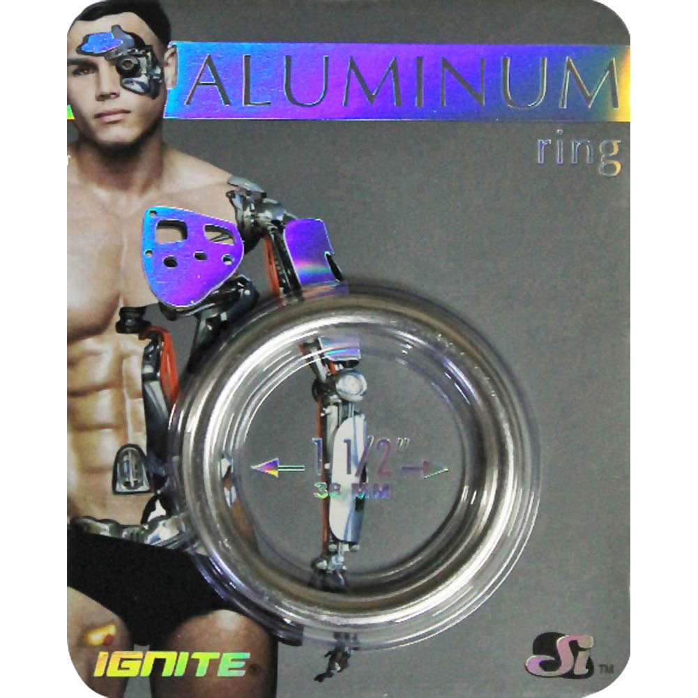 "Ignite Anodized Aluminum Cock Ring 1.5"" Platinum - View #1"