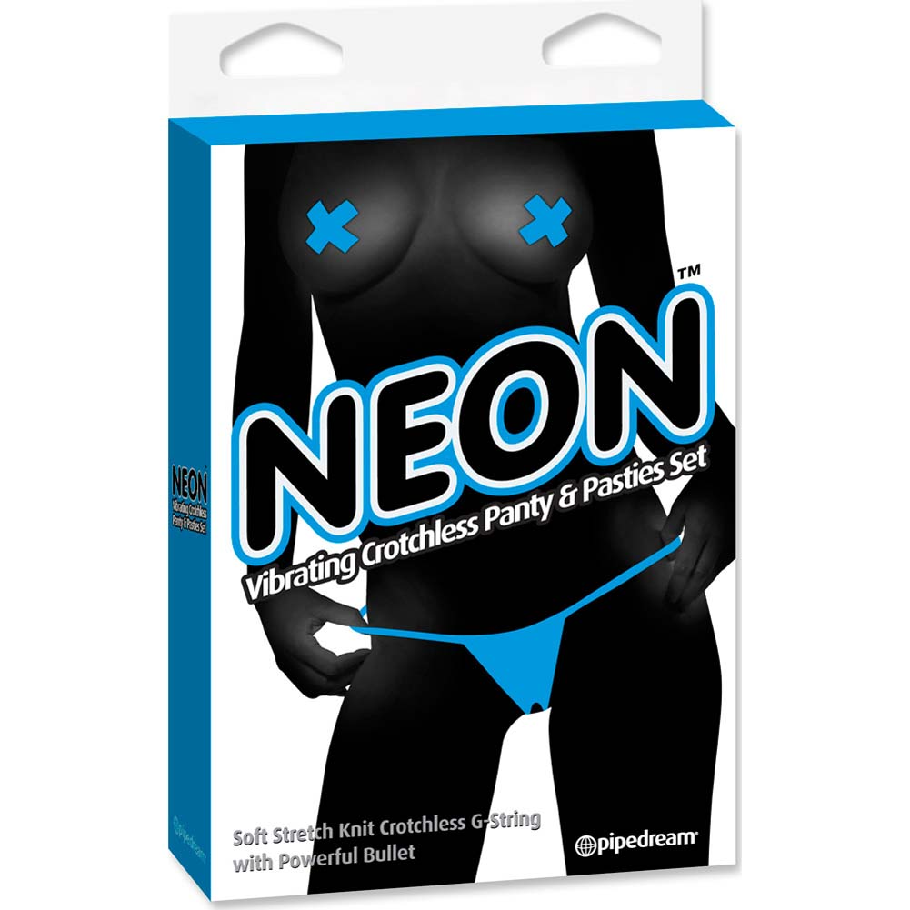 Neon Vibrating Crotchless Panty and Pasties Set Blue - View #4