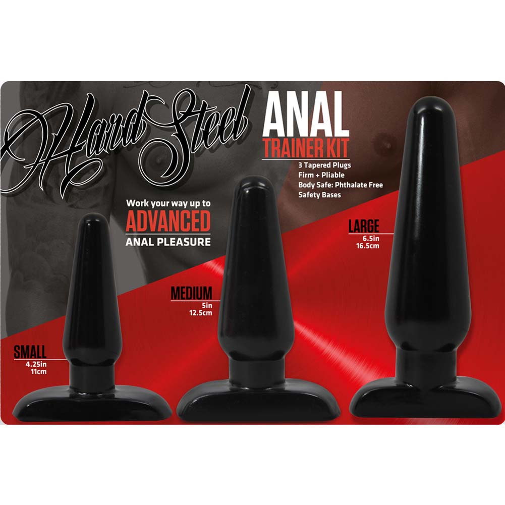 Blush Hard Steel Anal Trainer Kit 3 Butt Plugs Black - View #1